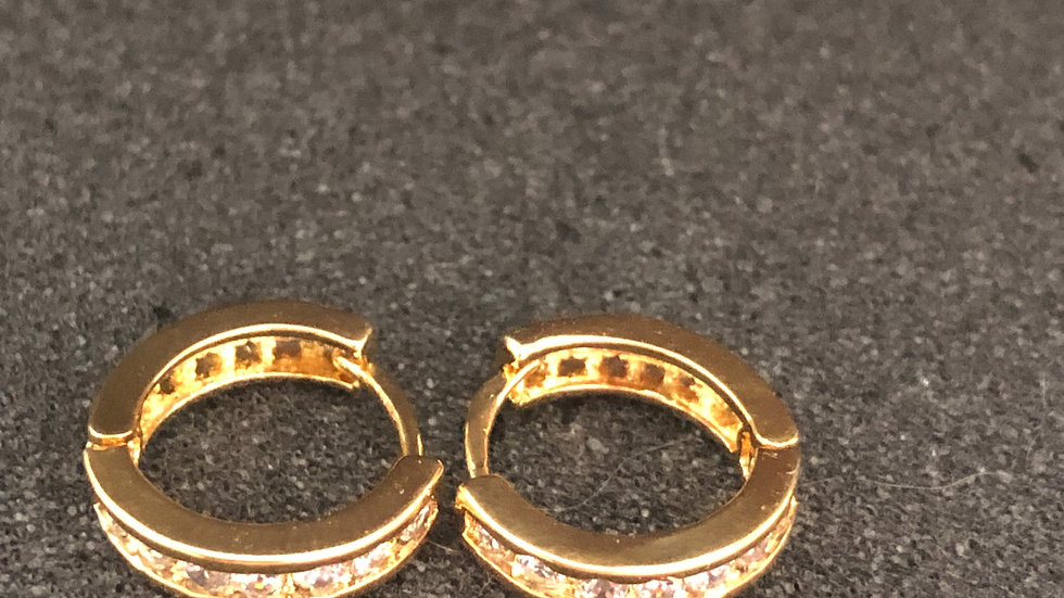 Small Gold Diamond Huggy Earrings