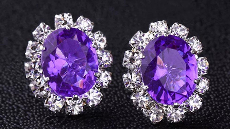 Purple Stud Party Earrings
