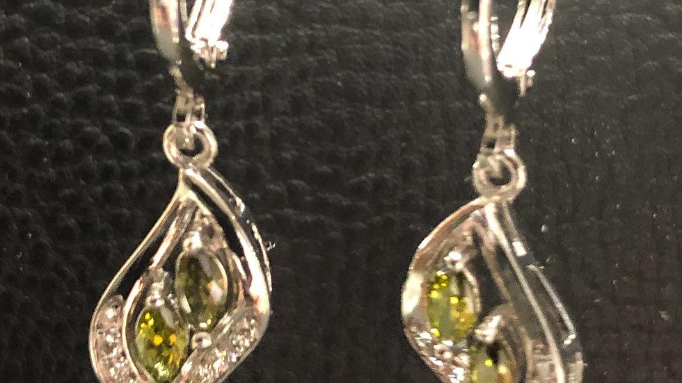 Double Olive Dangle Diamond Earrings