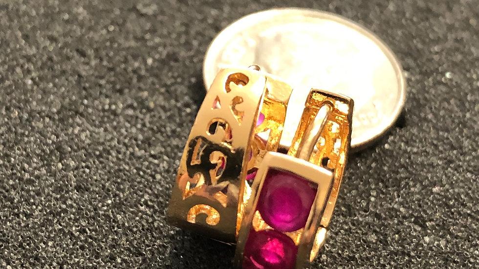 Pink Stone Gold Huggy Earrings