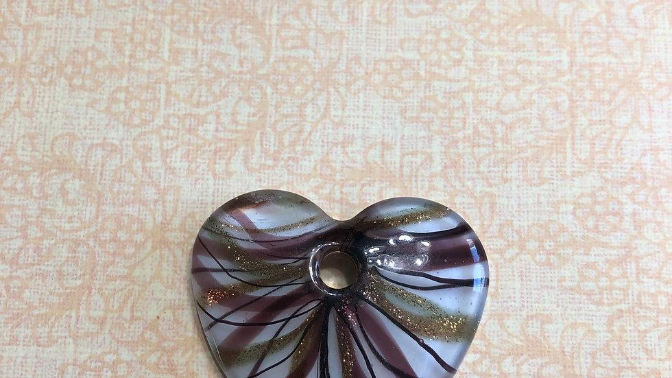 Murano Purple Ribbon Heart Glass Pendant