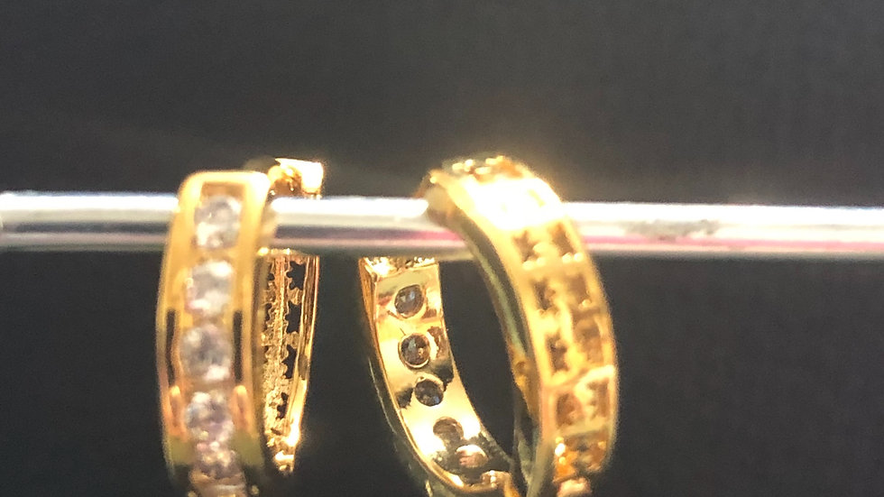 Gold Diamond Huggy  Earring