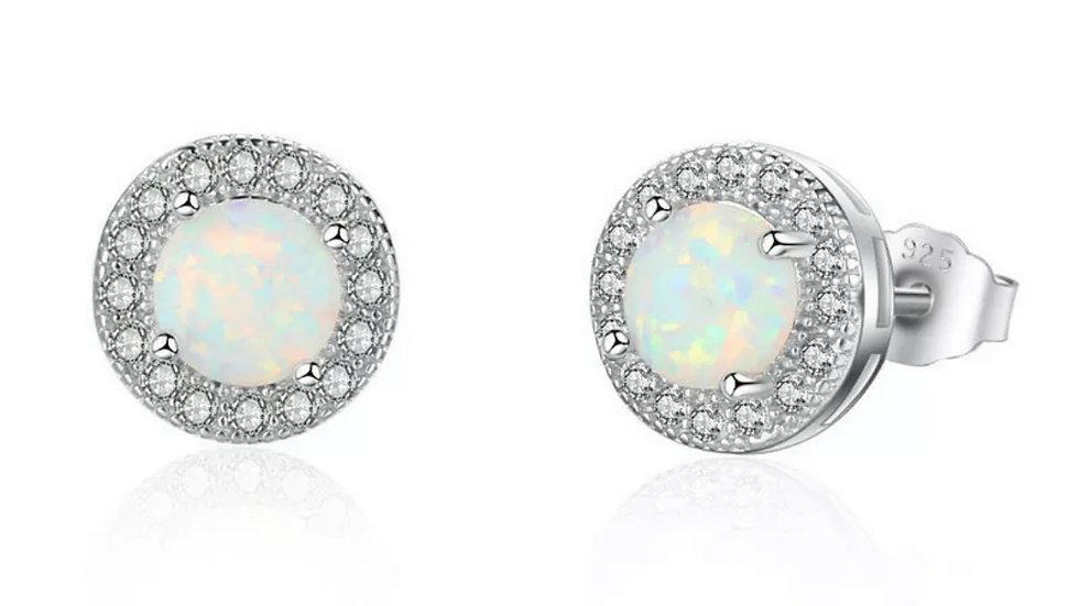 Opal Round Stud Earrings