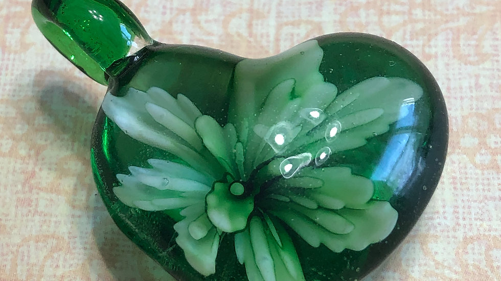 Murano Green Flower Heart Glass Pendant