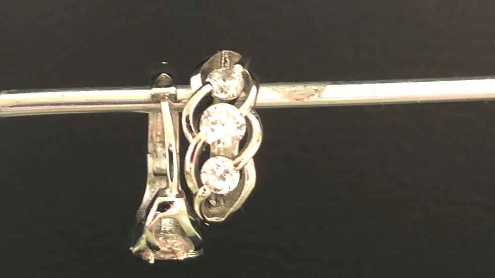Silver Leaf Diamond Huggy Earring
