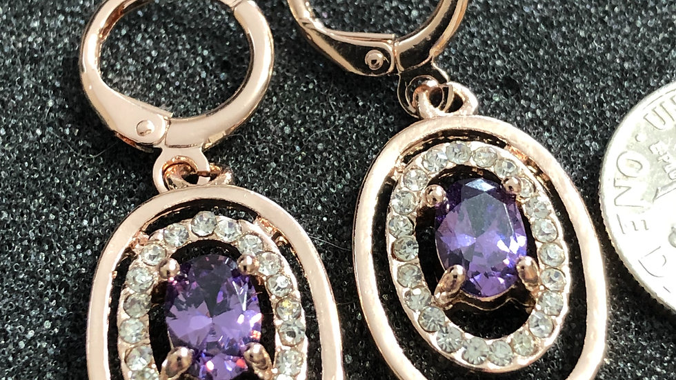 Purple Diamond Huggy Earrings