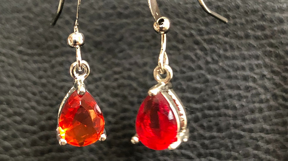 Silver Red Tear Drop Dangle
