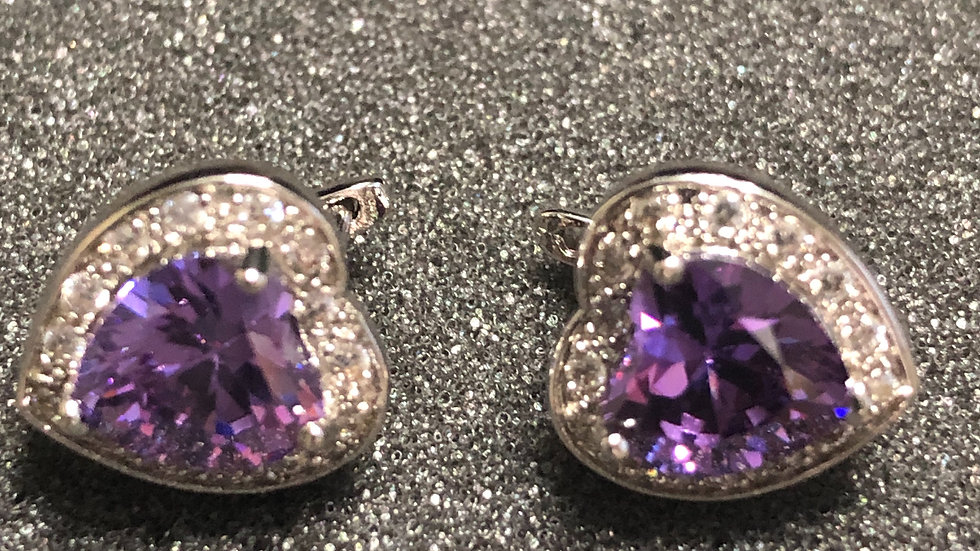 Purple Heart with Diamond Earrings