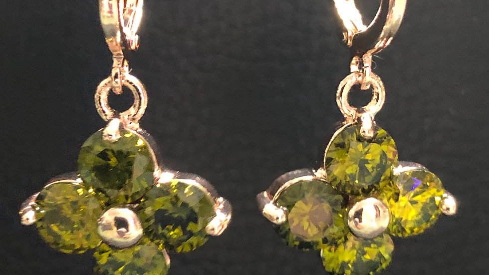 Olive Green Flower Dangle