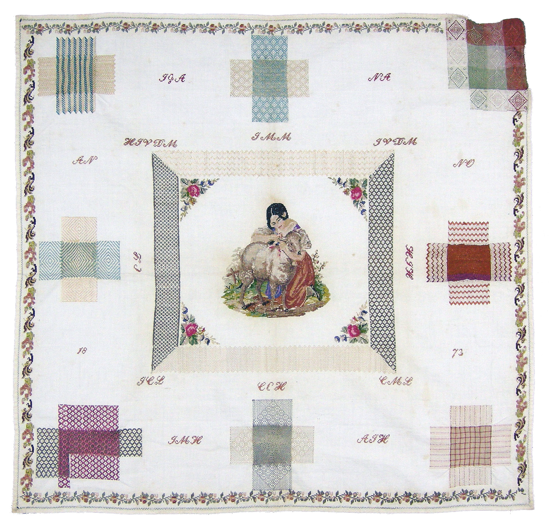 Dutch darning sampler 1873