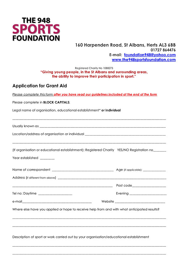 948 SPORTS FOUNDATION GRANT APPLICATION.