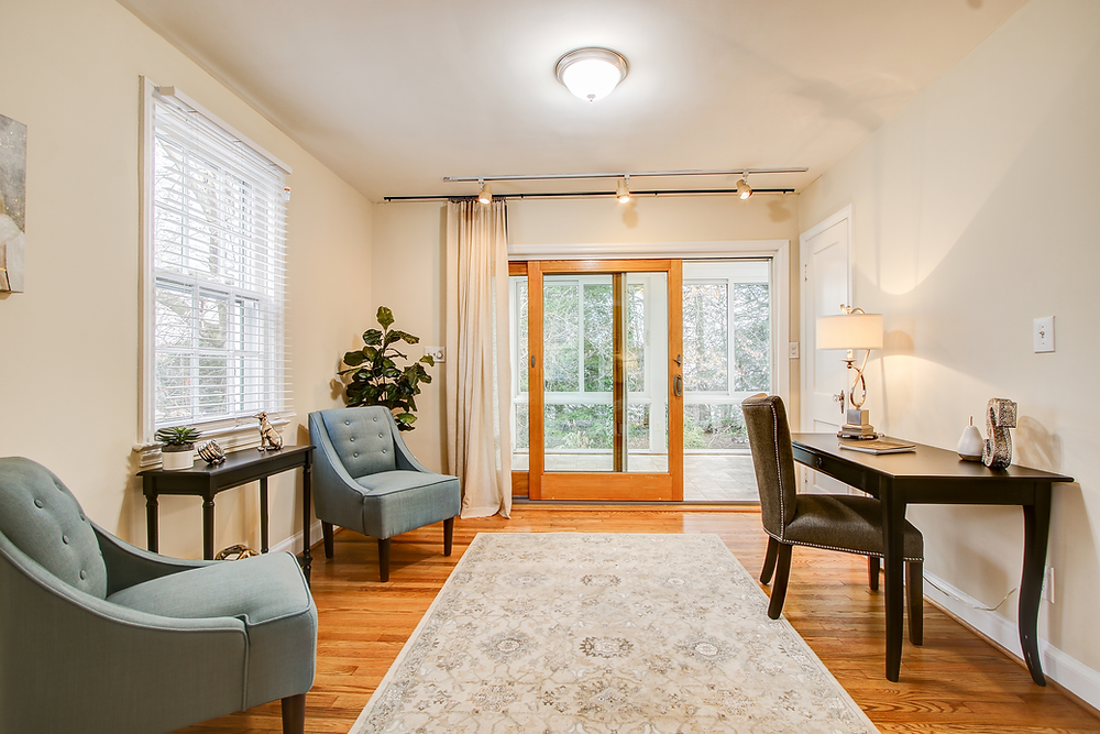 elegant home office sliding door wood floors luxury