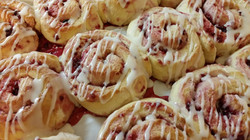 Raspberry Rolls frosted