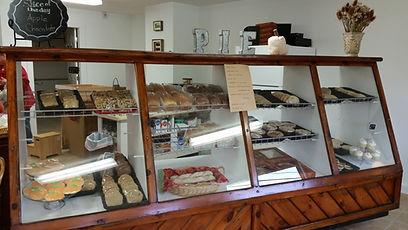 Pie Ladies' Bakery case of homemade baked goods.