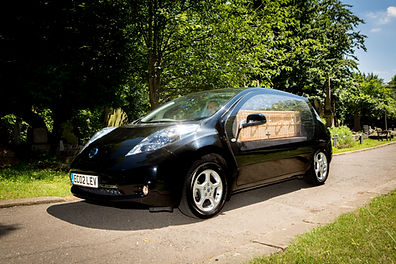 Eco-hearse with coffin