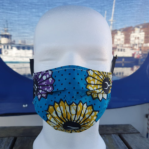 Face covering - Blue / Flowers