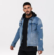 Denim jacket with a hoodie