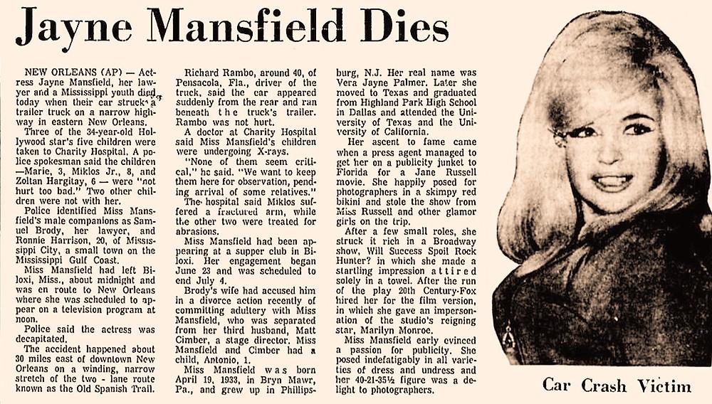 Jayne Mansfield Death Newspaper