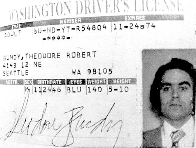 Ted Bundy's License Washington 1974