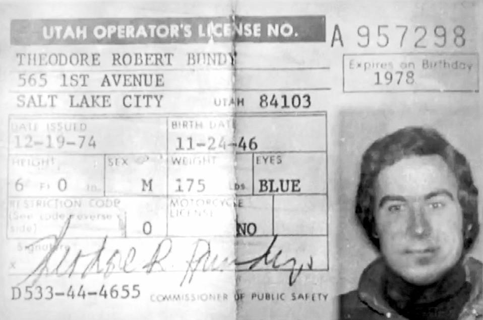 Ted Bundy's License Utah 1974