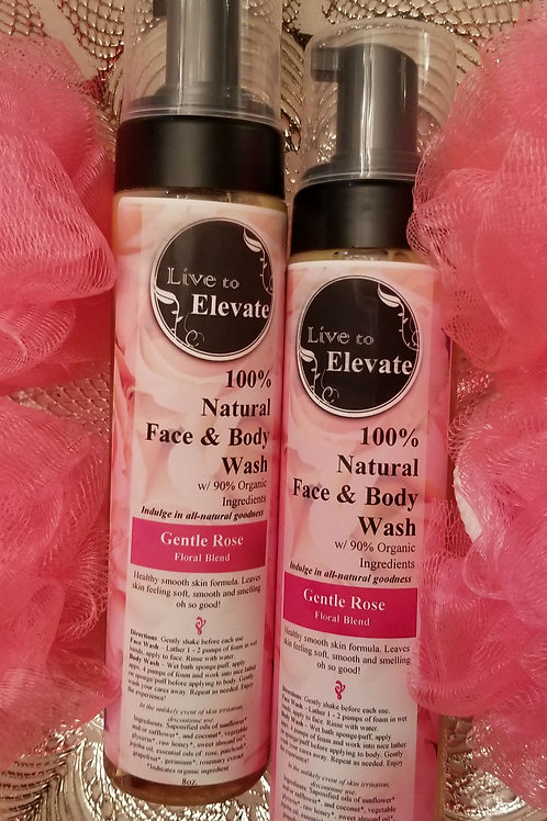 100% Natural Body Wash w/ Organic Ingredients - Gentle Rose Blend