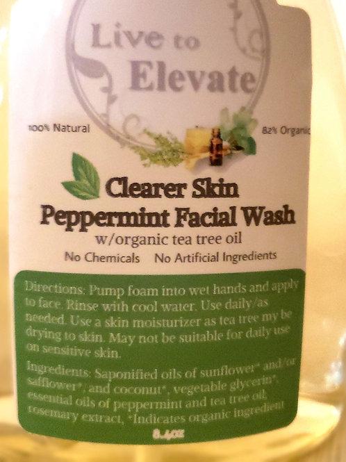 Clearer Skin Peppermint Facial Wash w/ Organic Tea Tree Oil