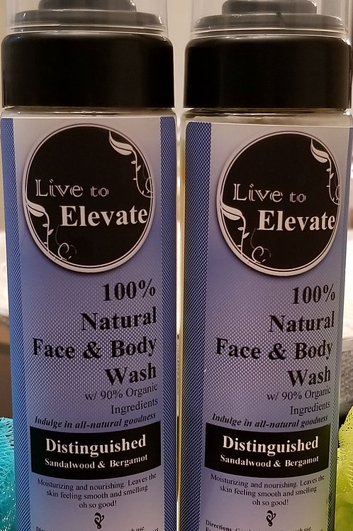 100% Natural Body Wash w/ Organic Ingredients - Distinguished (Sandalwood)