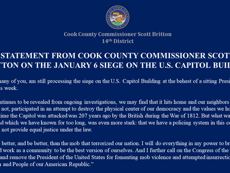 Statement From Cook County Commissioner Scott Britton on the Jan 6 Siege of the U.S.Capitol Building