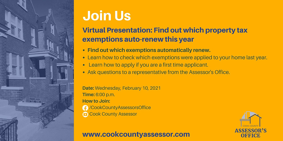 Cook County Assessor Property Tax Exemption Event