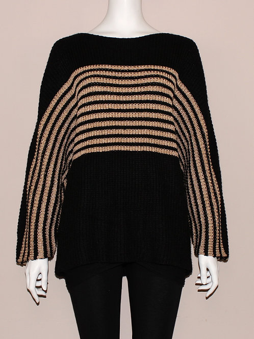 Golden Stripe Oversized Sweater