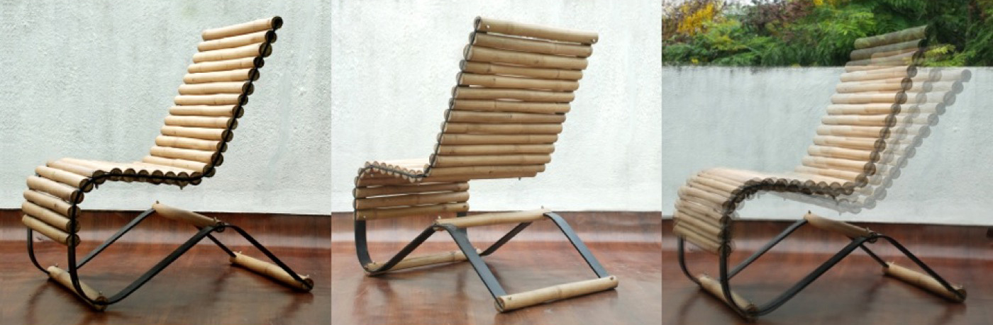 Swinging bamboo chair