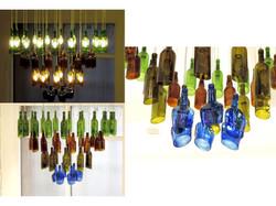 Reclaimed bottle chandelier