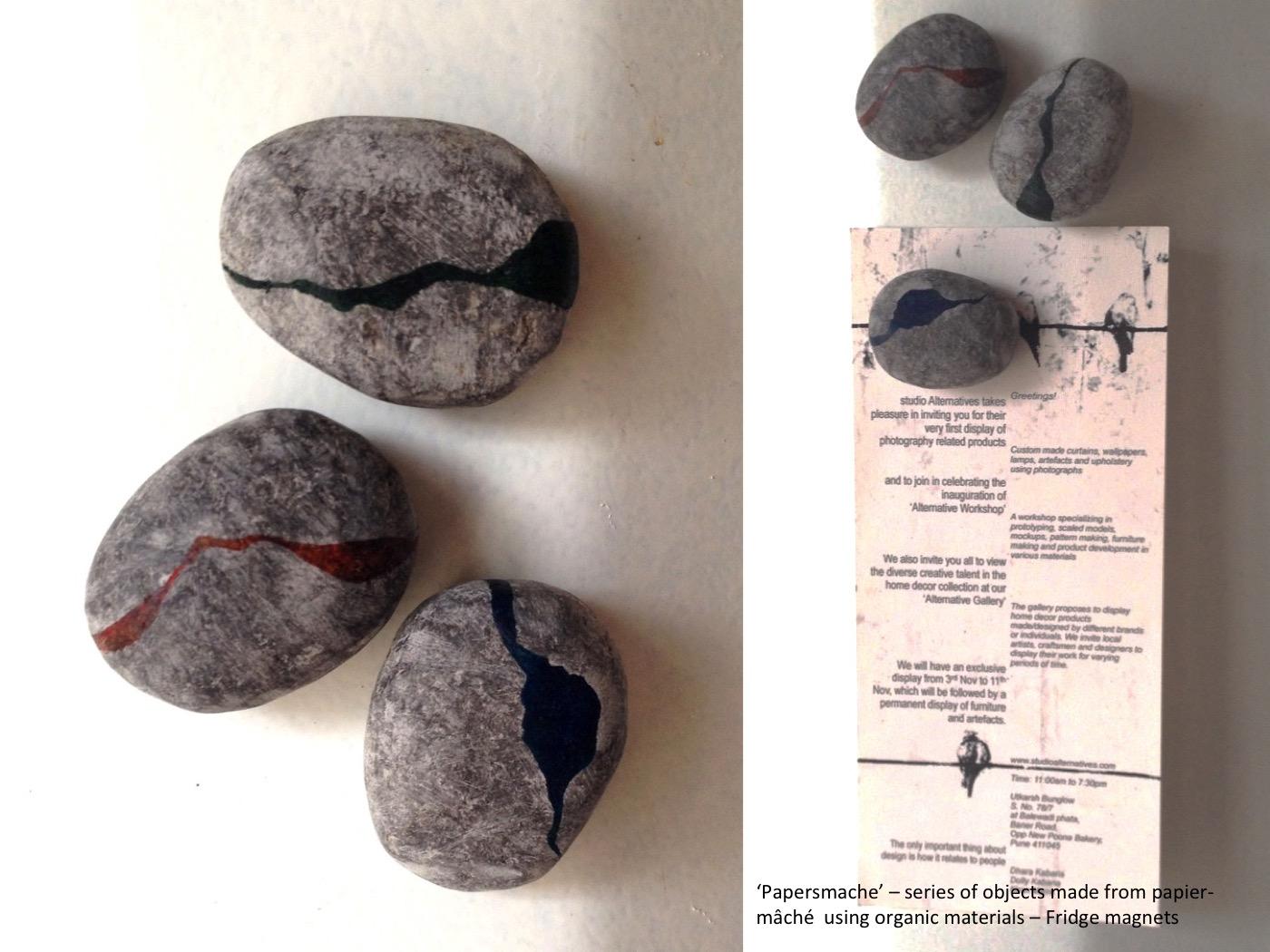 Papier-mâché Stone Magnets