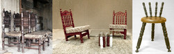 Red chairs and three leg stool