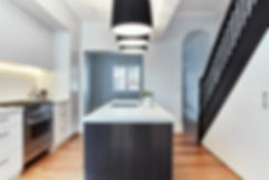 modern kitchen / surry hills / sydney / australia / interior designblack timber stairs / modern kitchen / black / white