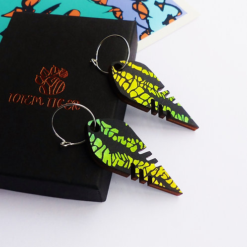 Colour-Changing Yellow & Green, Wooden Earrings by TOTEM TIGER