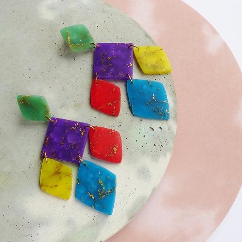 Jewel Tones, Multicoloured Statement Dangle Earrings