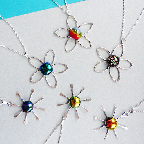Glass Flower Necklaces by Twisted Little Flowers