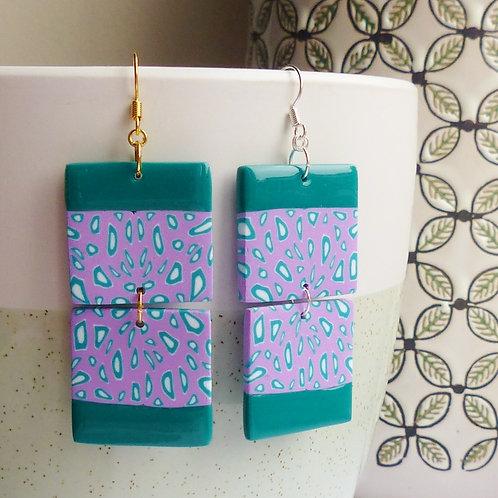 Dotty Lilac & Green, Funky Dangle Earrings