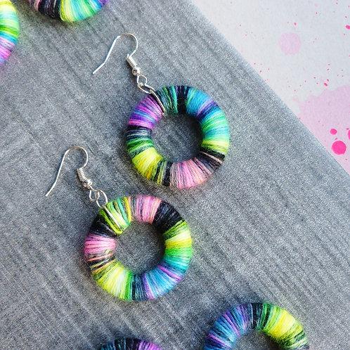 Multicoloured Neon & Black, Yarn Donut Earrings by Queen-Beads
