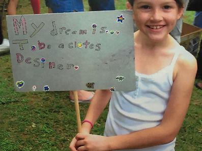 8 year old Morgan Grabarz dreaming of becoming a fashion designer.