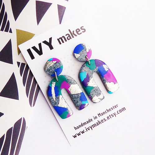 Purple & Blue, Arch Dangle Earrings by Ivy Makes