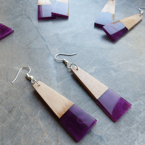 Pearlescent Purple, Wood & Resin Earrings by Amber Alpaca