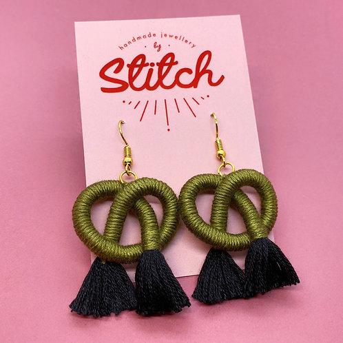 Khaki Green & Black Cotton Knot Earrings by Stitch Jewellery