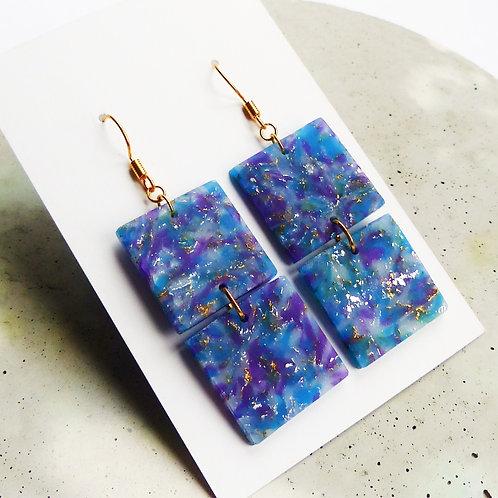 Galaxy Marbled Dangle Earrings, in Blue & Purple