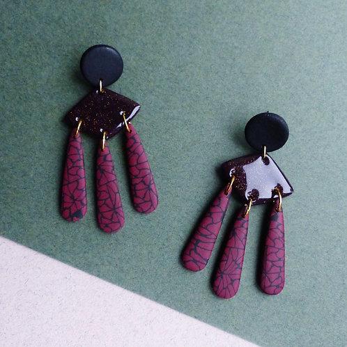 Statement Dangle Earrings in Burgundy & Black