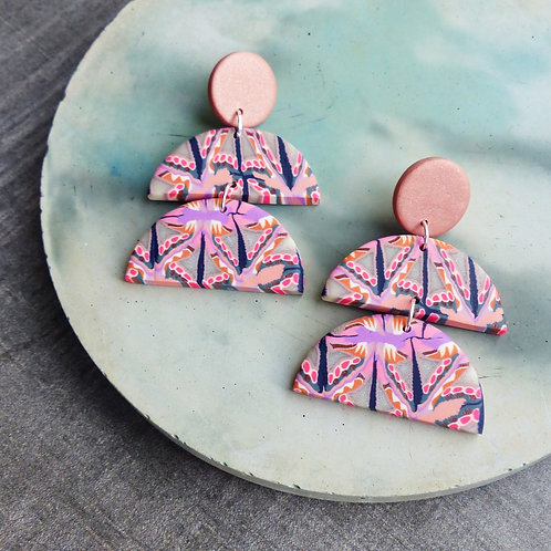 Psychedelic Pink/Lilac, Statement Dangle Earrings