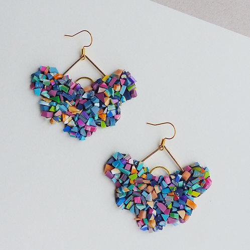Multicoloured, Mosaic Statement Dangle Earrings in Gold