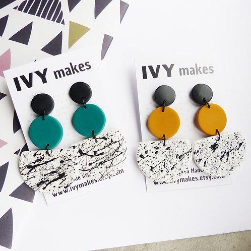 Half-Moon, Monochrome Splatter Dangle Earrings by Ivy Makes