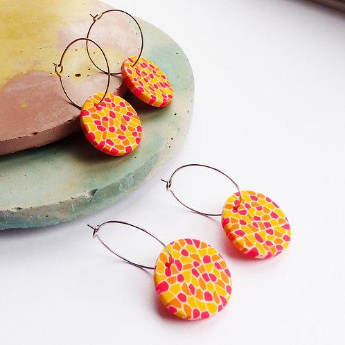 Dotty Neon Hoop Earrings in Pink & Orange